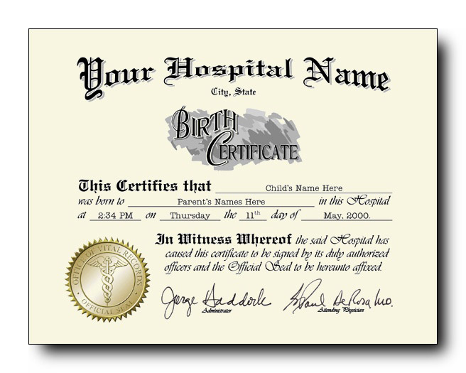 Fake birth certificate style #1